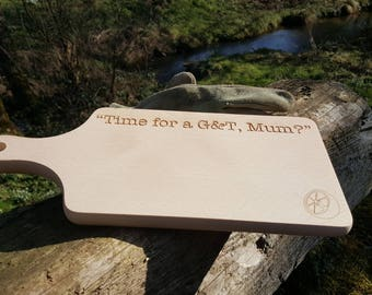 Time for a G&T Mum? Engraved Beech Wood Chopping Board / Gin and Tonic with Lime Cutting Board / Gift for Gin Lovers Personalised Bespoke