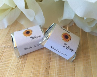 Personalized Wedding Candy Wrappers, Sunflower candy bar wrappers, sunflower favors,sunflower wrappers, fall favors, sunflower wedding candy