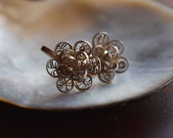 Vintage Mexican Rose Silver Filigree 1950s Floral Motif Earrings