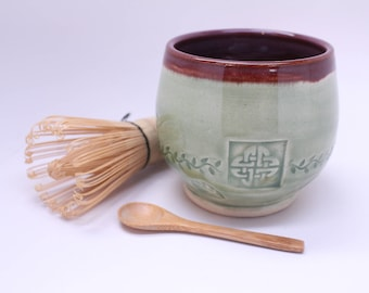 Matcha Tea Bowl Set with a Bamboo Whisk and Spoon