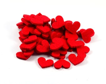 100 Pieces Felt Red Heart,  Bithday Party, Party Decoration, Christmas Party, Wedding Party