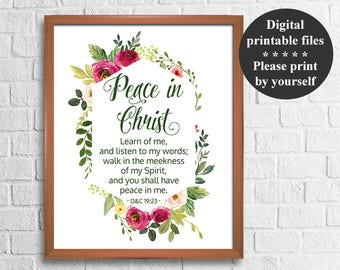 LDS Young Women Mutual Theme 2018, Peace in Christ, D&C 19:23, 8x10'' + 16x20'' Signs, Mormon printables, 2018 mutual theme printable