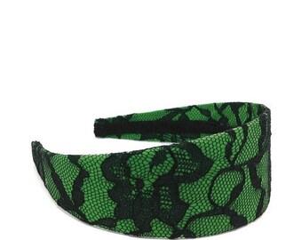 Black Lace and Green Extra Wide Headband - Lace Headband - Holiday Headband - Adult Women's Headband, Big Girl Headband, Teen Headband