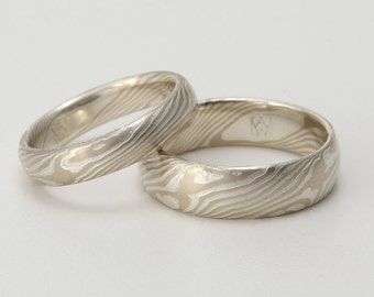 Custom Mokume Gane woodgrain Ring - 14k palladium white gold and silver ring - woodgrain pattern