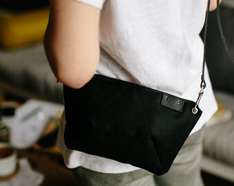 BEE BLACK cross body purse / natural black leather strap / cotton small bag / black shoulder purse
