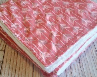 Baby Blanket - Minky Baby Blanket - Arrow Baby Bedding - Tribal Crib Blanket - Coral White Minky Blanket - Baby Shower Gift - Girls Blanket