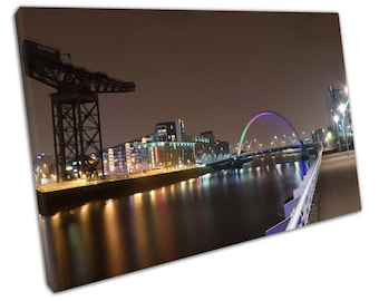 print on canvas city of Glasgow at night squinty bridge river Clyde Scotland Art - X1518