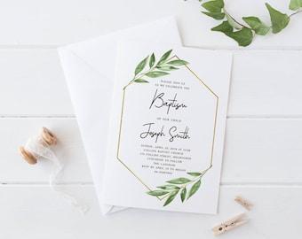 Printable Baptism Baby Invitation Card, Printable Christening Baby Invitation Card, Simple Greenery Leaves Foliage Botanical Baptism