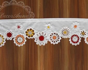 Curtain with colorful crochet doilies, cafe curtain valance, flower kitchen short curtain valance, bathroom curtain