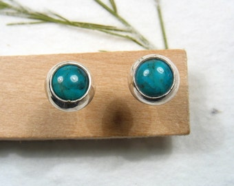 5mm cabochon Turquoise stud earrings set in Sterling silver ,casual earrings, silver post earrings.