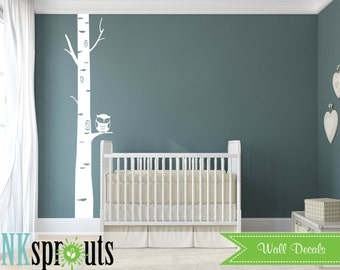 Birch tree with Owl Decal, Birch decal, Single birch tree, Large birch tree, Birch forest,  Modern Nursery, Nursery decals, Baby Decals