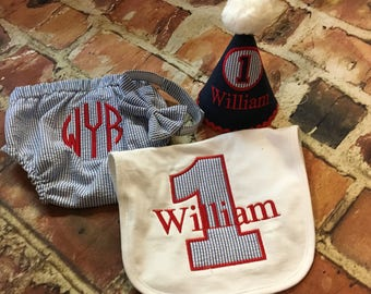 Boy Seersucker diaper cover - bib - first birthday outfit - first birthday hat - tie - Monogram - Initials - handmade - photo shoot