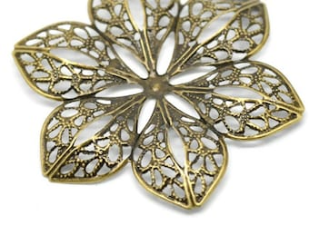 Alloy Embellishments Findings Flower Antique Bronze - Pack Of 4