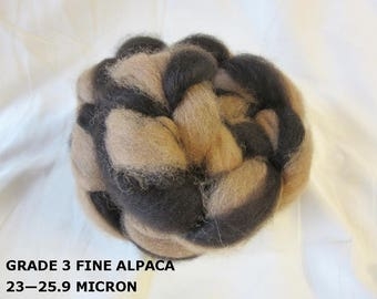 2 oz. 100% Natural Med. Fawn/Dk. Brown Alpaca Braided Roving For Spinning, Nuno Felting or Needlefelting