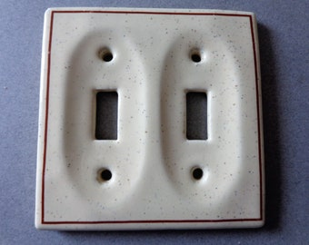 Double Porcelain Switch Plate Cover, Speckled Blue and Brown on Yellow, Switchplate Toggle plate
