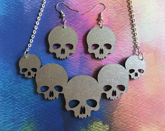Double Sided Laser Cut Glittery Skull Acrylic Necklace and Earrings