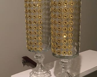 Gold Bling glass candle holders.
