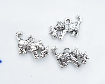 10 Cat and kitten charms | kitten charms | cat charms | silver cat jewelry | pet charms | animal charms | domestic cat charms | SC611