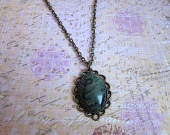 Bronze Kambala Jasper Necklace, Kambala Necklace, Jasper Stone Necklace, Tumbled Kambala Stone Jewelry, Polished kambala Jasper Jewelry