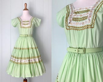 1960s Bettina of Miami Square Dance Dress | 60s Mint Green Full Skirt Patio Dress | Vintage Ric Rac Trim Party Dress | Womens Clothing XS