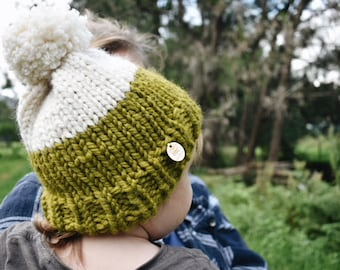 The Burra Beanie - chunky knit Child Size (Fern/Cream)
