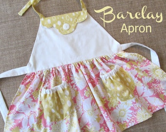 Barclay - Kitschy Apron Girls Sewing Pattern.  PDF Pattern. Toddler Pattern. All Sizes 2-8 Included
