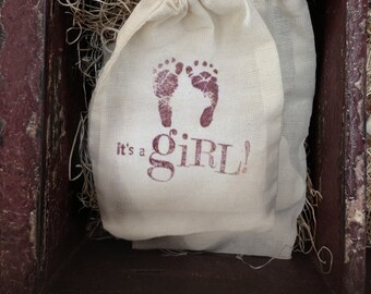 """Hand Stamped Drawstring Pouch Bag / Cotton Muslin Bags 3.25""""x5"""" Gift or Packaging for Baby / New Child / Shower / Mother / Its a Girl"""