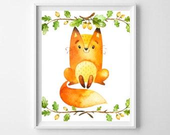Cute Fox Art Print, Printable Wall Art, Woodland Nursery, Children's Art Print