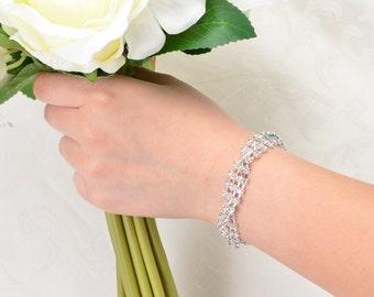 Bridal Bracelet - Rhinestone Crystal Bracelet. Wedding Accessories, Silver Crystal Bridal Bracelet. Prom Jewelry.