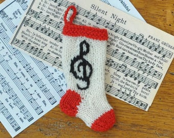 Treble Clef Music Hand-Knit Christmas Stocking Ornament  Musician  *Available to Order*