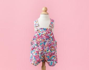 Vintage Colorful Floral Jean Shortalls (Size 12 Months)