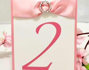 Pink & White Table Numbers With Ribbons and Buckles (Choose Your Quantity)
