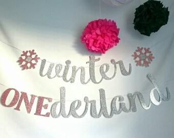 Winter ONEderland, party banner,  winter birthday, winter Wonderland, kids birthday,  party decorations, glitter banner, cursive banner, one