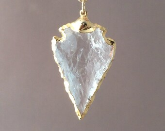 Small Clear Crystal Arrowhead Gold Necklace