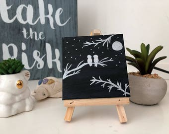 Mini Canvas Painting with Easel, Birds and Night sky