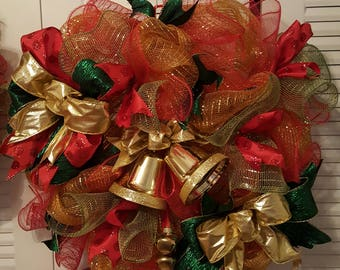 Traditional Christmas Wreath, 24 in. Wreath, Red, green, gold wreath, jingle bells wreath, Christmas Holiday wreath FREE SHP.