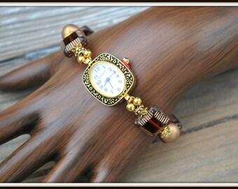 Beaded Watch Bracelet, Glass Bead Wrist Watch, Brown Glass Bead Watch, Magnetic Clasp Beaded Watch, Czech Glass Watch Bracelet