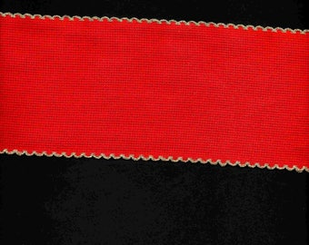 Ribbon embroidery red Aida 10cm wide