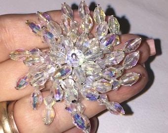 Vintage 40's Faceted AB Crystal Pinwheel Brooch Pin