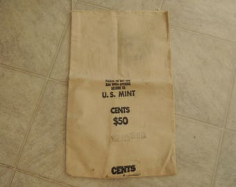 Coin Bag, 1979, Canvas money bag, 50 dollars in pennies, US Mint bag, Very good condition, Vintage