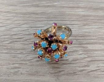 Vintage 1960s Aqua & Pink Stones Ring