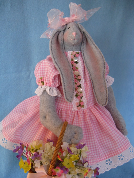 April - Mailed Cloth Doll Pattern 19inch Springtime Girl Bunny Rabbit