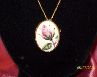 Vintage Porcelain Rose Pin/Necklace Combo