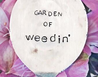 Hand Stamped Garden Marker, Rustic Garden Accessory, Upcycled Flatware,  Gardener Gift, Funny