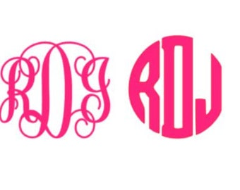 Monogram Decal Initials Sticker Vinyl, Script or Block, Many Colors and Patterns, Any Size
