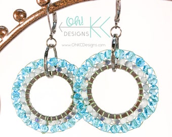 Blue, white, and gray brick-stitch beaded hoop earrings
