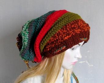 Knitted Dreadlock Hat Chunky Beanie Large Beanie Oversized Beanie Hat Large Slouchy Dreadlock hat POM POM Women Knit Hat Hand Knit XXL hat