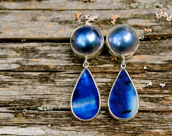 blue mabe pearl and ancient Chinese porcelain earrings, timeless vintage retro style, handcrafted sterling silver setting
