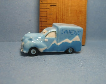 FOOD TRUCKS - MILK Delivery Truck Vehichle Van - French Feve Feves Porcelain Figurines  Doll House Charm Miniature Ff16