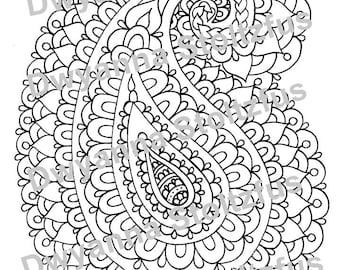 Paisley 3 Coloring Page JPG